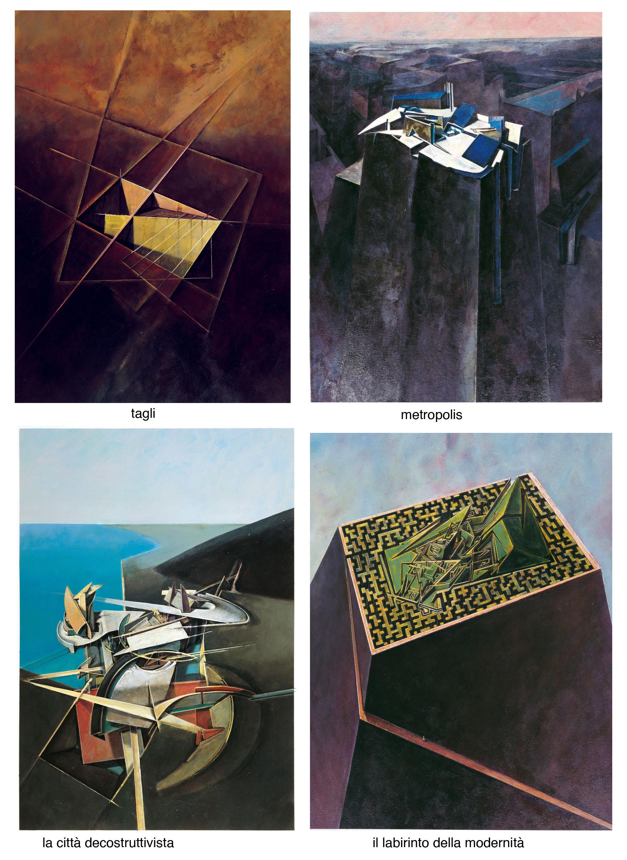 01 architetture, 1992. olii e acrilici su cartone cm 70x50