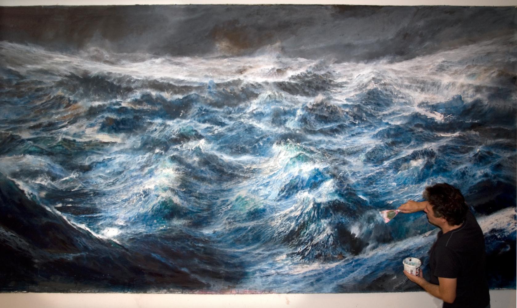 con autore.TEMPESTA SULL'OCEANO PRIMORDIALE. olio e acrilici su tela - cm 220 x 387, Fr, Santosuosso 2014