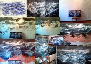 fasi lavorazione tempesta sull'oceano primordiale
