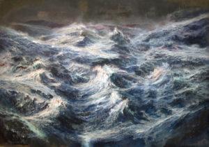 tempesta sull'oceano primordiale - olio e acrilici su tela cm 150 x 200.  2014