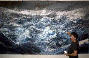 tempesta sull'oceano primordiale  con autore 224 x 370 cm    2014