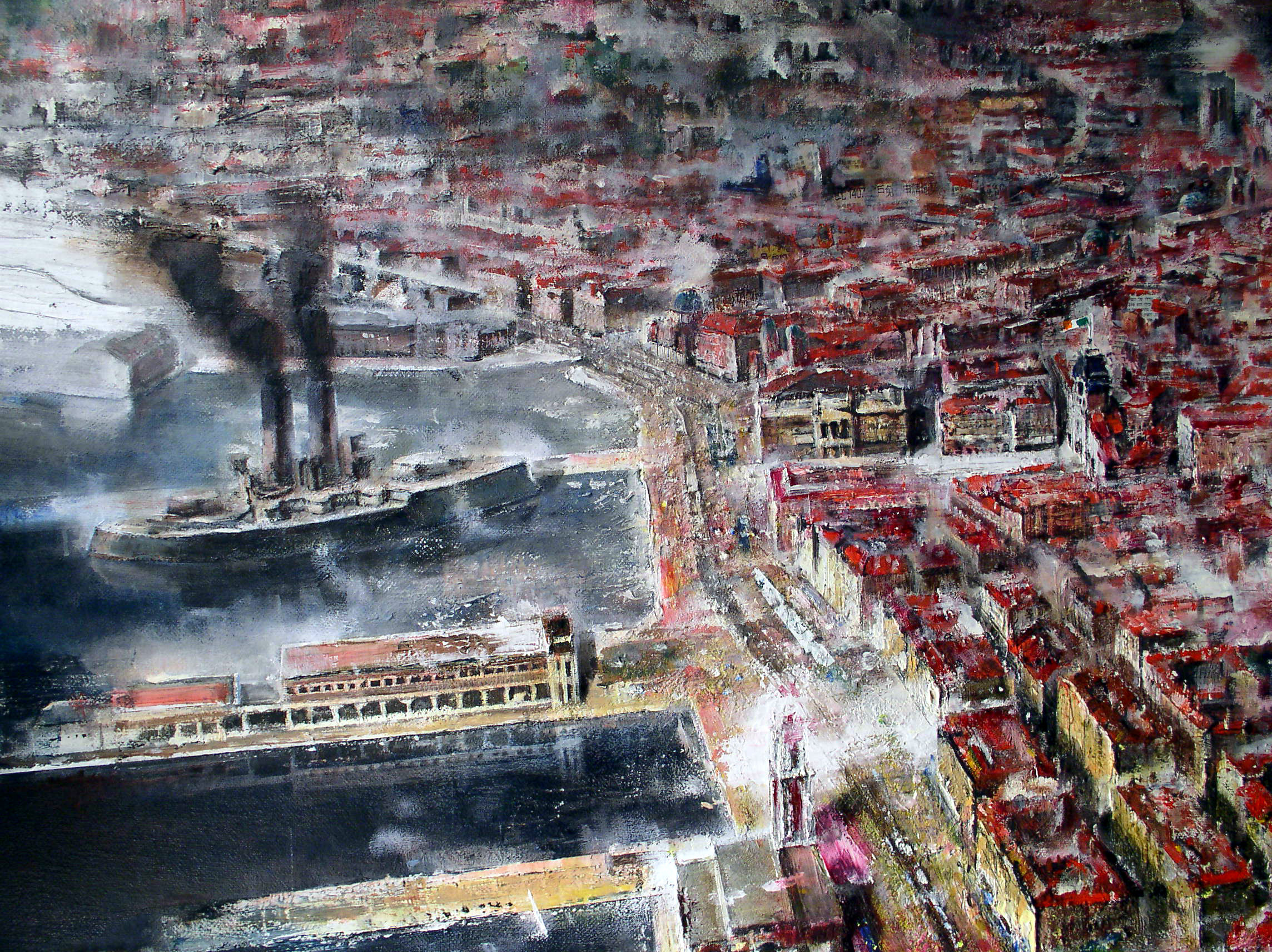 particolare del dipinto TRIESTE olio su tela 140x200 fr.santosuosso 2007