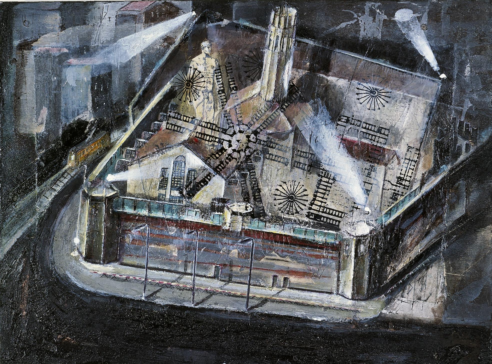 07 san Vittore, 2000,tecnica mista su legno,cm 35x47.