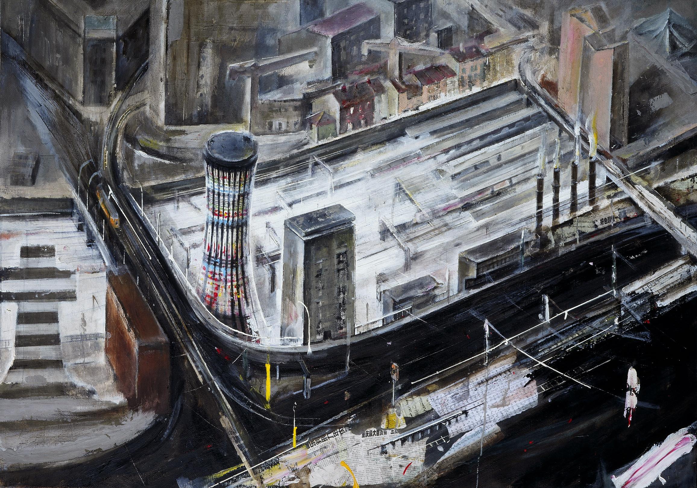 11 la torre del ponte farini,2002, olio e acrilico su tela 100x140