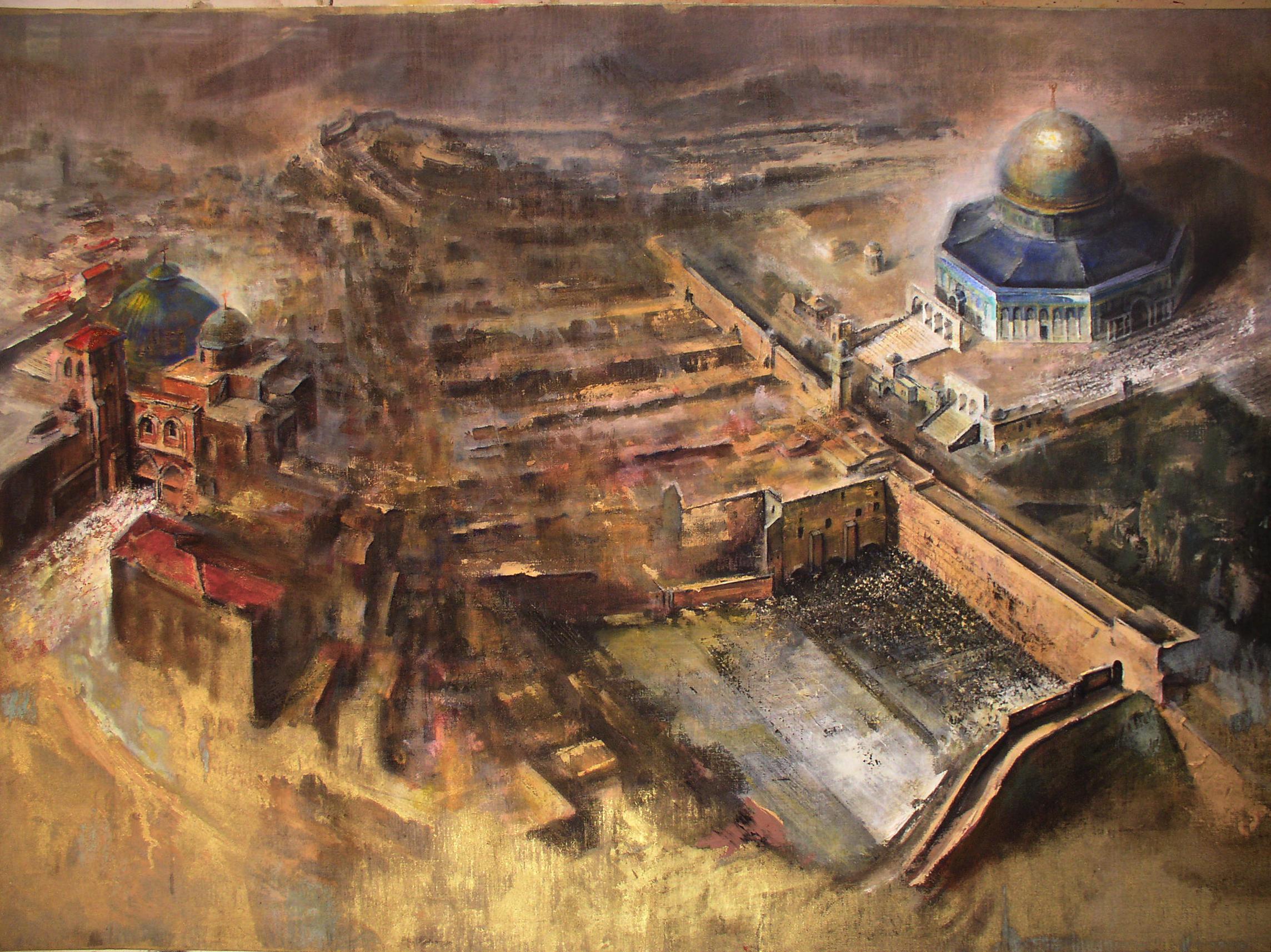 Gerusalemme-le tre religioni monoteiste -santosuosso 2003- 100x140