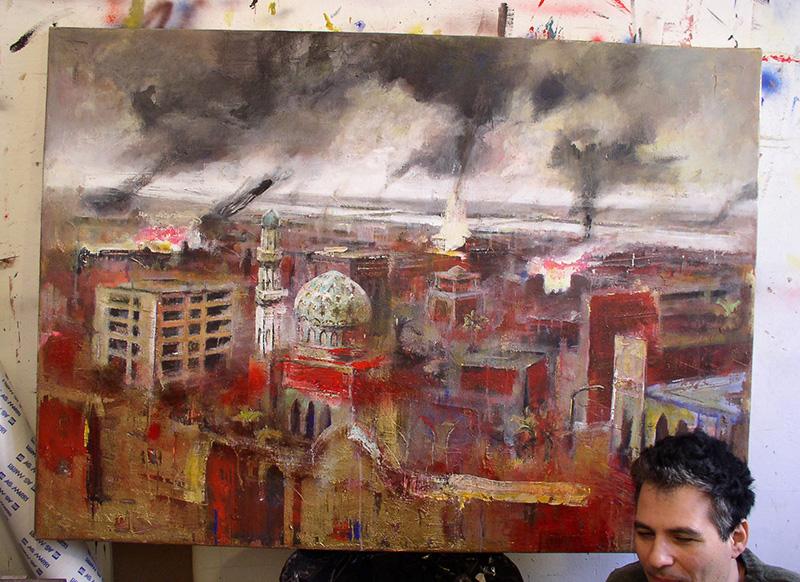l-bombardamento-di-Bagdad-con-autore-tela-100x140